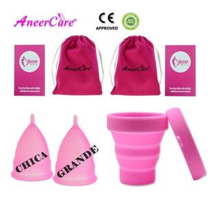 2 Copas Menstrual Aneer Silicon 1 Vaso Esterilizador, Bolsa.