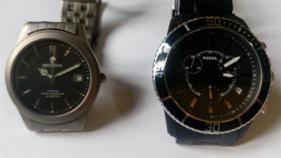 2 Relógios: Fossil Cronógrafo E Seculus Titanium - Com Caixa