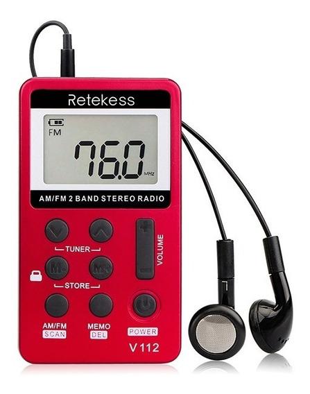 Mini Rádio Bolso Portátil Digital Am/fm Recarregável