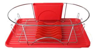 Mega Chef 17 Pulgadas Rojo Plata Dish Rack
