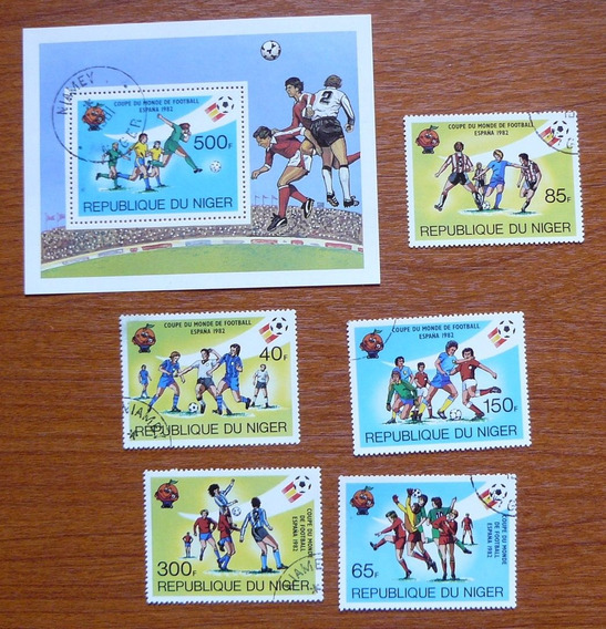 5 Estampillas + 1 Bloque De Tema Fútbol