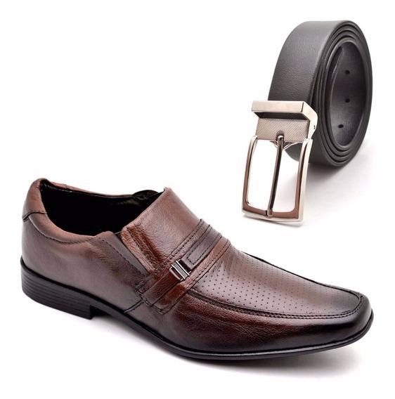 Sapato Cinto Social Masculino Couro Legitimo Kit Promo