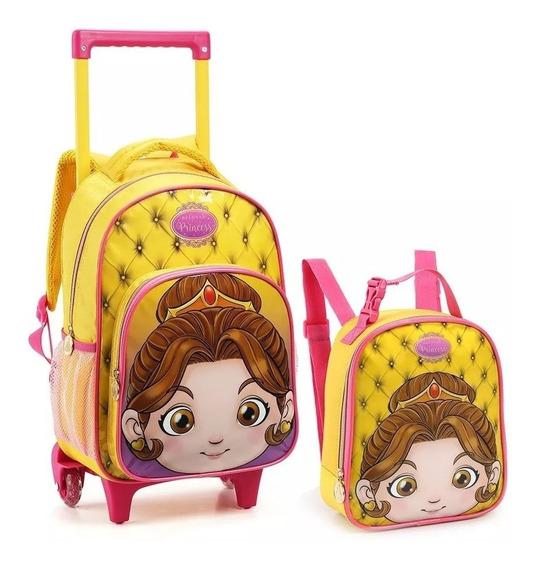 Kit Mochila Infantil Rodinhas Pré Escolar Princesas Creche