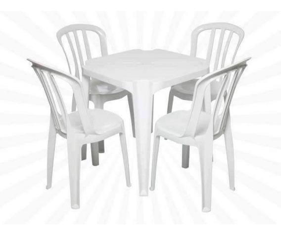 Conjunto Mesa 4 Cadeiras Bistro Branca Plástico Antares