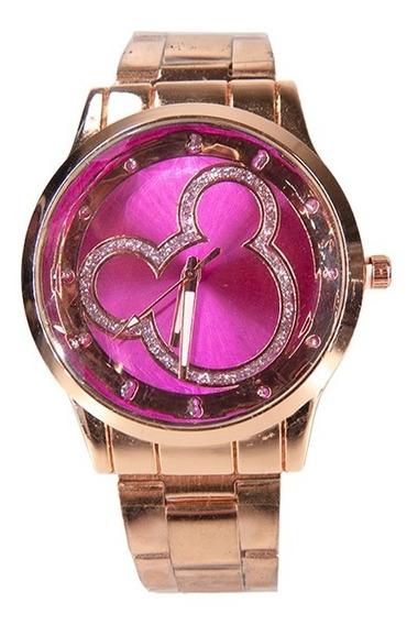 Relógio De Pulso Feminino Cabeça Mickey Disney Dourado