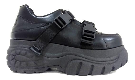 Zapatillas Plataforma Mujer Con Cordones Y Ganchos Ecocuero