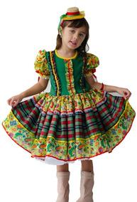 Vestido De Festa Junina Infantil Caipira+ Chapéuzinho.