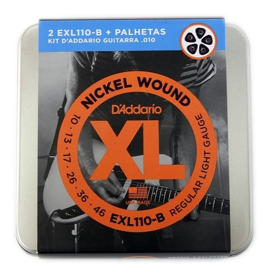 Encordoamento Guitarra Daddario Exl110- 2 Jogos+lata+palheta