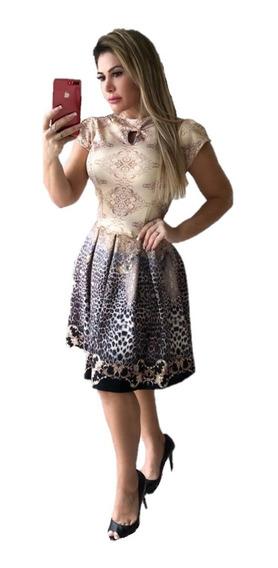 Vestido Modesto Midi Godê Com Pregas Moda Evangélica Piquê