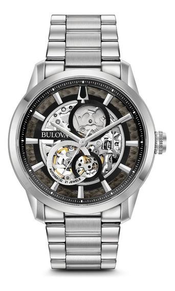 Relógio Bulova Masculino Automático 96a208 Esqueleto Aço