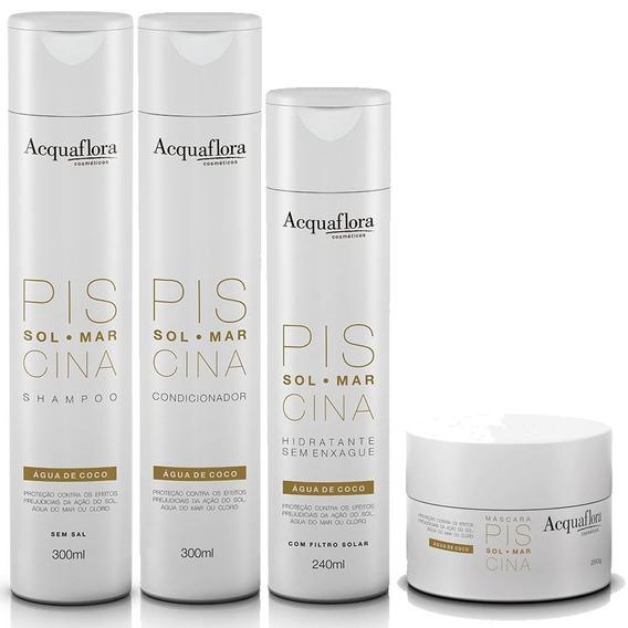 Kit 4 Produtos Sol Mar Piscina Acquaflora Shampoo + Condicionador + Máscara + Hidratante Sem Enxague