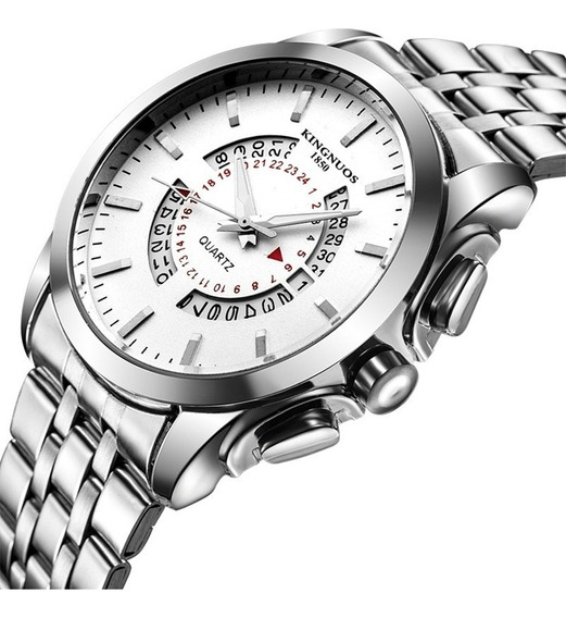 Relógio Masculino De Luxo Kingnuos Calendário Promoção