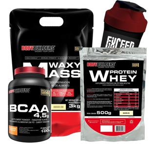 Kit Suplementos Hipercalórico + Whey Proten + Bcaa + Shaker