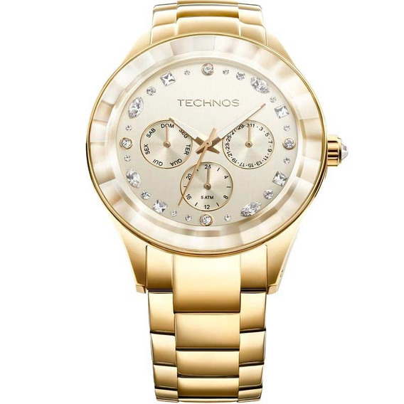Relógio Feminino Multifunção Technos Crystal 6p29ahd/4x