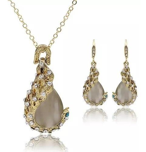 Collar Y Aretes Cristal Austriaco Moda Elegante