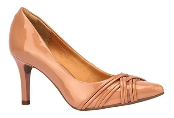 Sapato Scarpin Feminino Salto Fino Com Tiras Nude - Via Uno