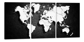 Quadro 75x150cm Mapa Mundi Abstrato Preto Branco Decoração