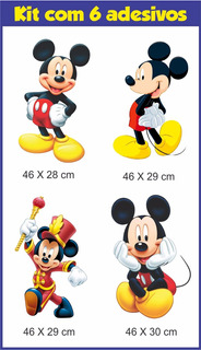 Kit 06 Adesivos De Parede Mickey Mouse