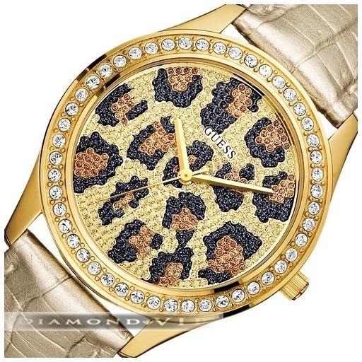 Relógio Guess Feminino Original Dourado Pulseira Couro Onça