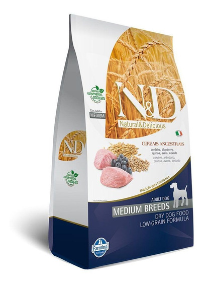 N&d Low Grain Cordeiro & Blueberry Cães Ad. R. Médias 2,5 Kg