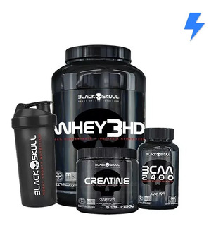 Whey 3hd 900g + Bcaa 2.400 + Creatina + Shaker - Black Skull