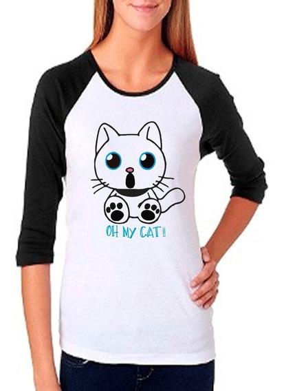 Playera Raglan Mujer Gato Oh My Cat!!