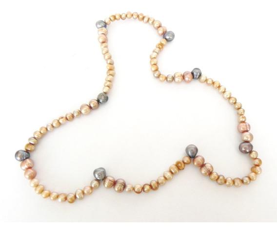 Collar De Perlas Cultivada Café Para Dama Muy Lindo.