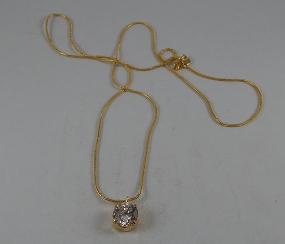 Colar Corrente De Ouro Com Pingente Zircônico C005