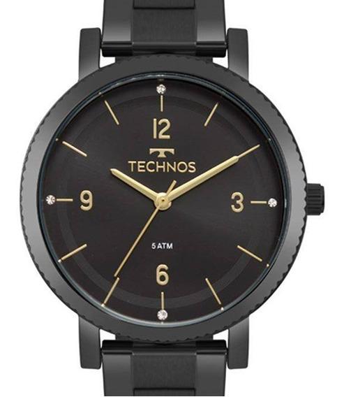Relógio Feminino Technos Analógico Preto Dourado Original