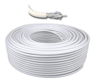 Cable Coaxil Rg6 Color Blanco Rollo 100 Mts. Directv