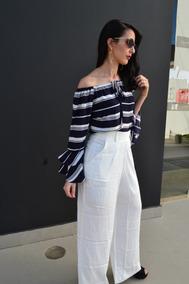Calça Branca Pantalona Blogueira