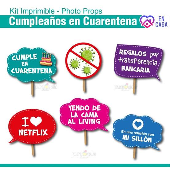 Cumpleaños En Cuarentena. Cartelitos Con Frases Divertidas.