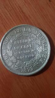 Moneda De Plata Boliviana 1/2bs 50cms 9 De Fino 1873