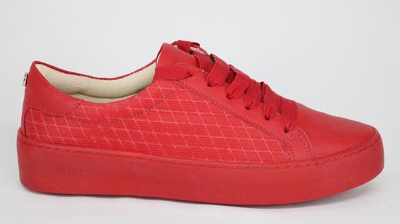 Tênis Bottero Couro Flatform Cadarço Vermelho - 39 - Vermelho