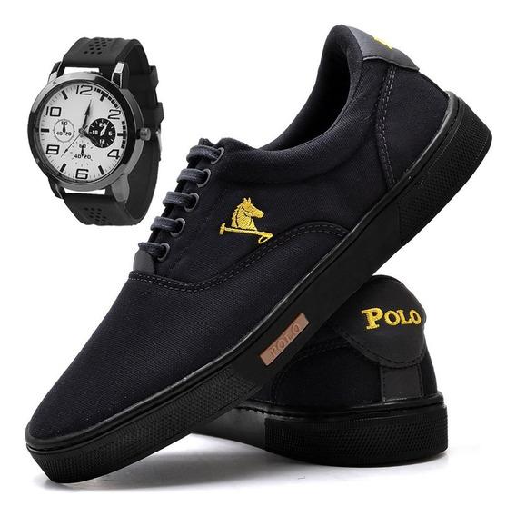 Tenis Masculino Polo Joy Sapato Sapatenis C/ Relógio