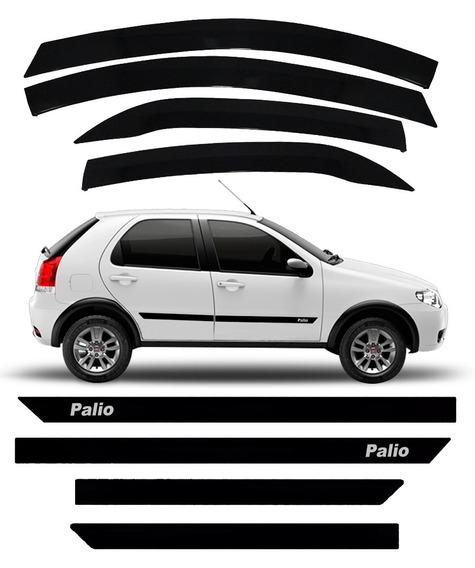 Kit Friso Borrachão + Calha De Chuva Fiat Palio Fire
