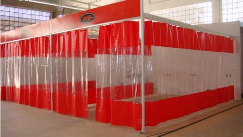 Cortina Cabine Pintura Plástica Lonas Box Transparente Ilhos
