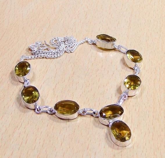 Colar Feminino Prata Com Pedras De Quartzo Citrino - J642