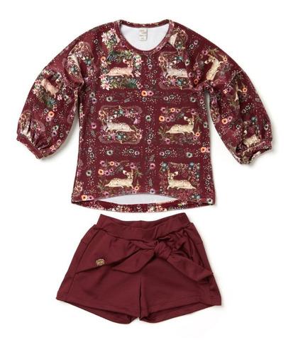 Imagem 1 de 1 de Conjunto Blusa E Shorts Bordô Camu Camu Infantil Menina