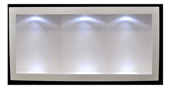 Nicho Branco Com 3 Lumináriasled 60x30x13 Mdf Madeira 2 Und