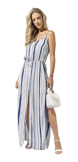 Vestido Longo Anele Em Viscose Rayon Alto Verão