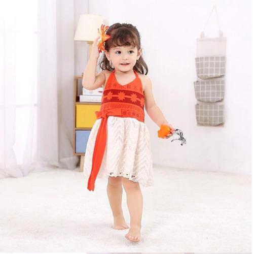 Fantasia Vestido De Festa Infantil Princesa Moana Bebê