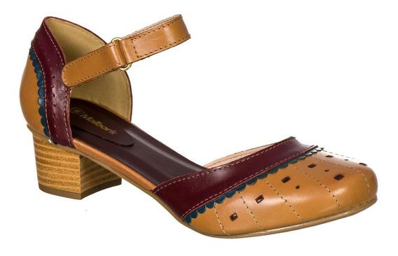 Sapato Feminino Boneca Retro Malbork Em Couro Whisky 3114