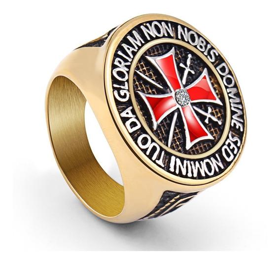 Anel Aço Inox Maçom Templário Cruz Cavaleiro Banhado A Ouro