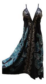 Vestido Indiano Batik De Ponta Assimétrico Longo Alça (2082)