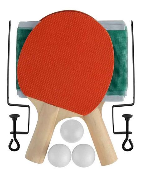 Kit Ping Pong Tênis De Mesa 2 Raquete + 3 Bolinhas + Rede