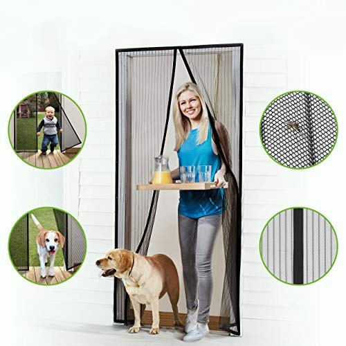 Homitt Magnetic Screen Door Con Heavy Duty Mesh Curtain Y Fu