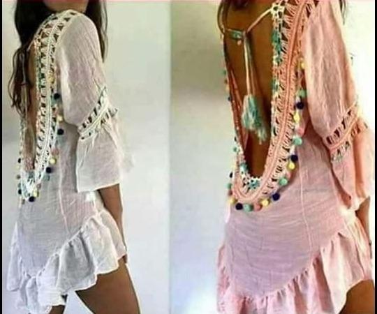 Vestido De Playa Con Crochet Espalda Escotada Y Pompones