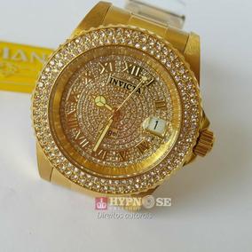 Relógio Invicta Angel 90255 Dourado Ouro 18k Cristais Origin