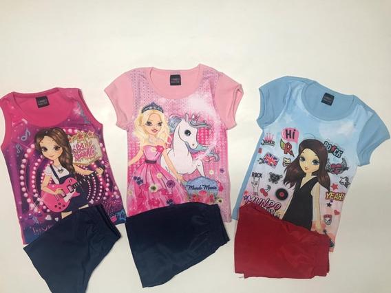 Conjunto Menina Infantil Verão Kit Com 3